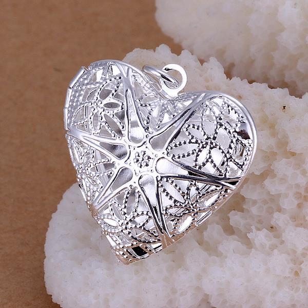 Wholesale Romantic Silver Heart Pendants TGSPP074 3