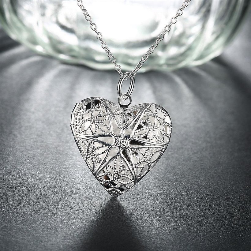 Wholesale Romantic Silver Heart Pendants TGSPP074 4