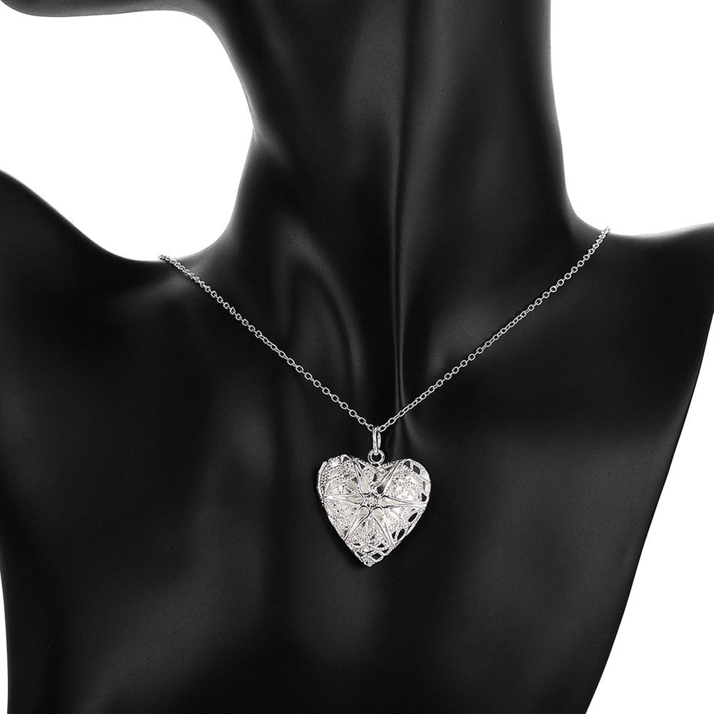 Wholesale Romantic Silver Heart Pendants TGSPP074 5