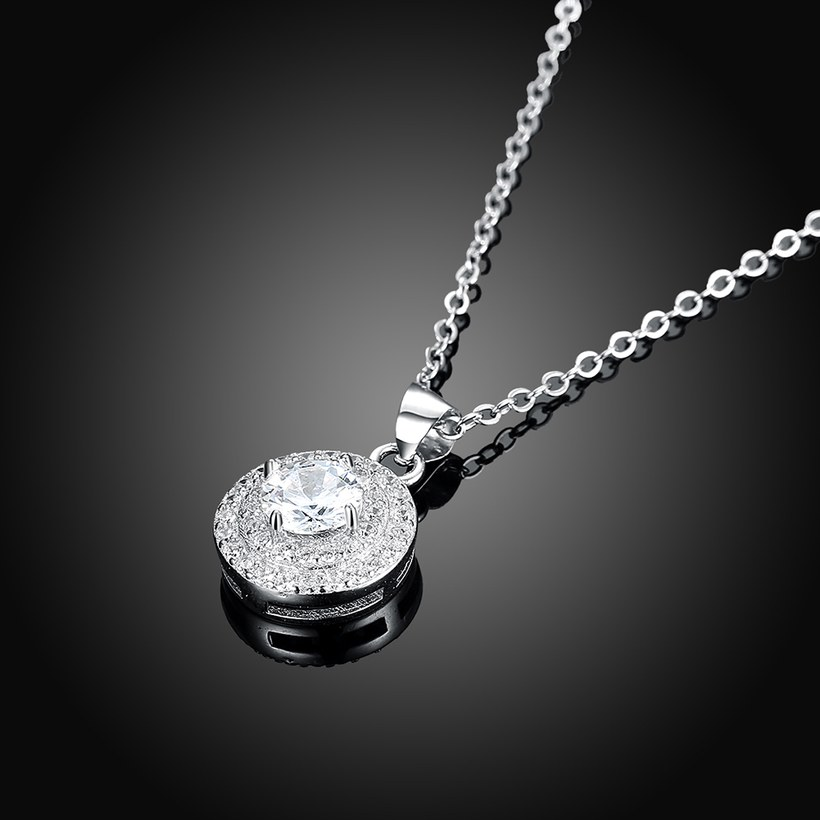 Wholesale Romantic 925 Sterling Silver Round White CZ Necklace TGSSN131 1