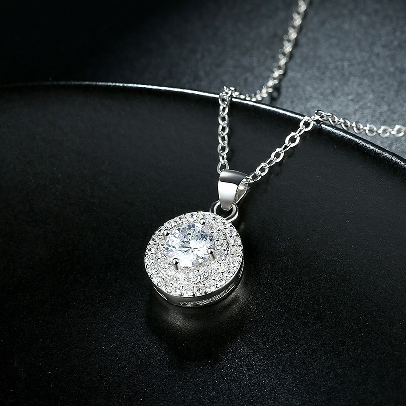 Wholesale Romantic 925 Sterling Silver Round White CZ Necklace TGSSN131 2