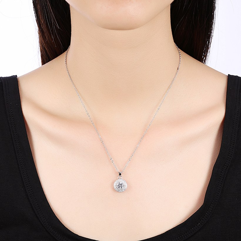 Wholesale Romantic 925 Sterling Silver Round White CZ Necklace TGSSN131 4
