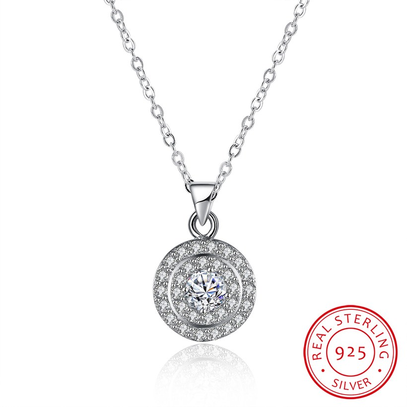 Wholesale Romantic 925 Sterling Silver Round White CZ Necklace TGSSN131 5