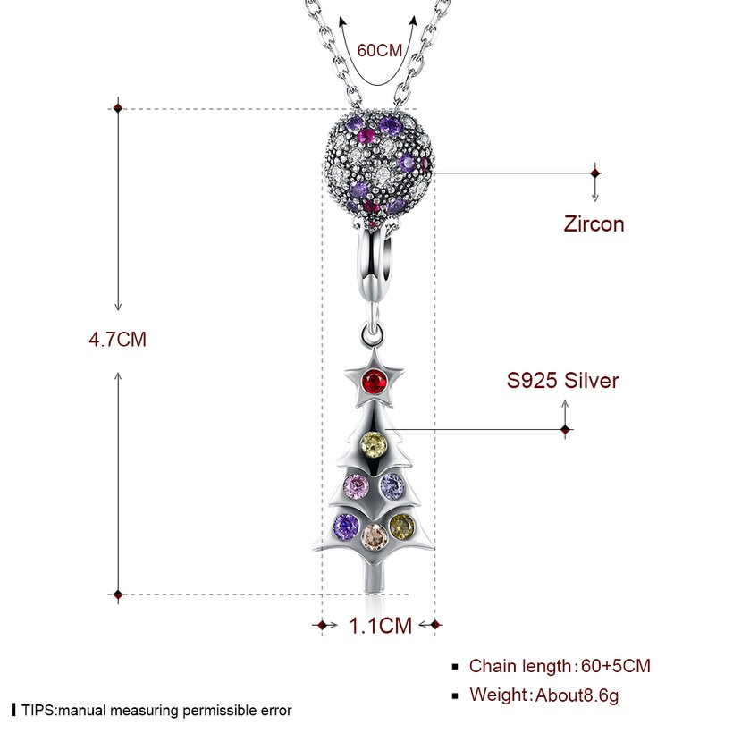 Wholesale 925 Silver Tree CZ Necklace TGSSN093 0