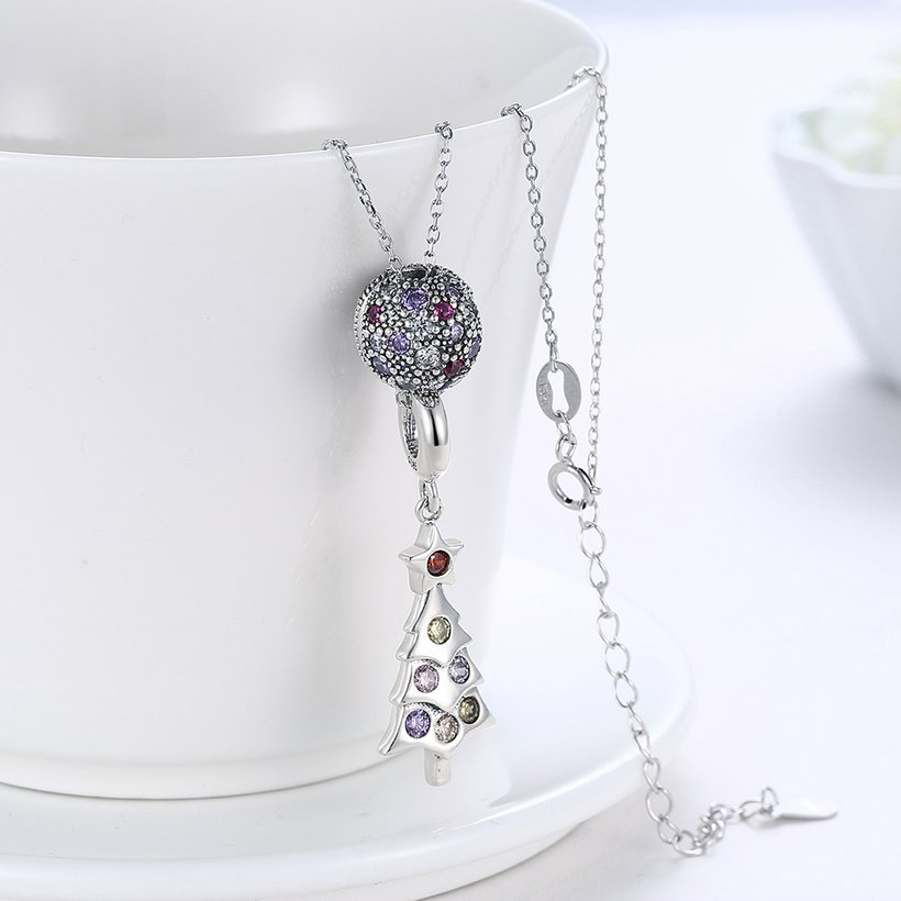 Wholesale 925 Silver Tree CZ Necklace TGSSN093 2