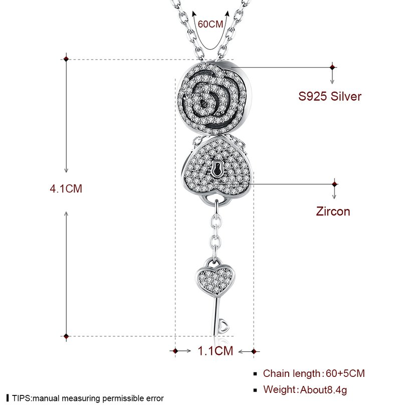Wholesale Trendy 925 Sterling Silver Key CZ NecklaceLady TGSSN102 0