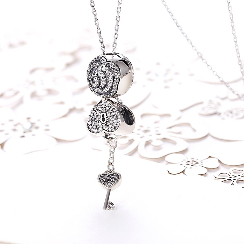 Wholesale Trendy 925 Sterling Silver Key CZ NecklaceLady TGSSN102 1