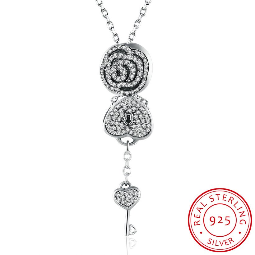 Wholesale Trendy 925 Sterling Silver Key CZ NecklaceLady TGSSN102 4