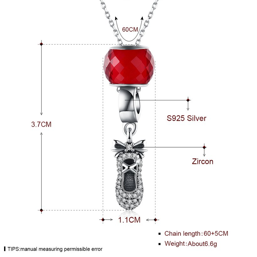 Wholesale 925 Silver Cute Shoe CZ Necklace TGSSN111 0