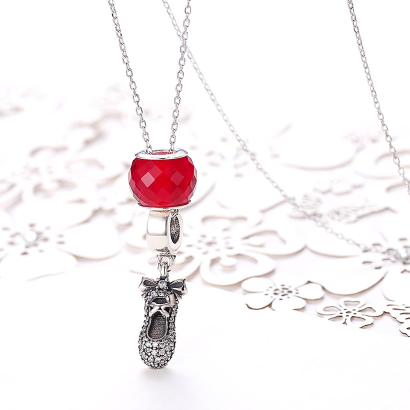Wholesale 925 Silver Cute Shoe CZ Necklace TGSSN111 1