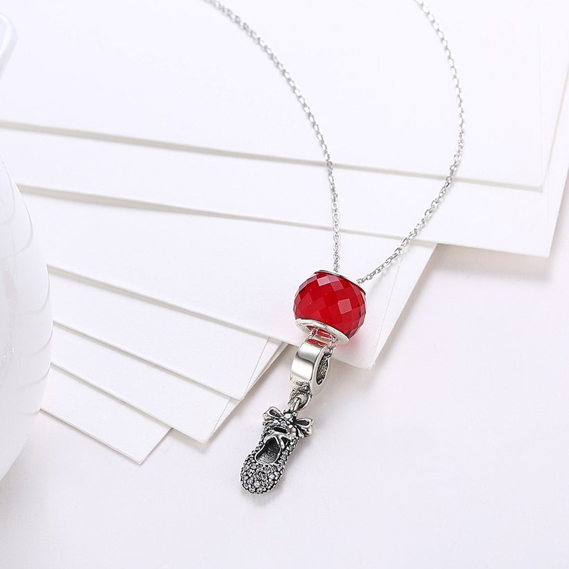 Wholesale 925 Silver Cute Shoe CZ Necklace TGSSN111 2