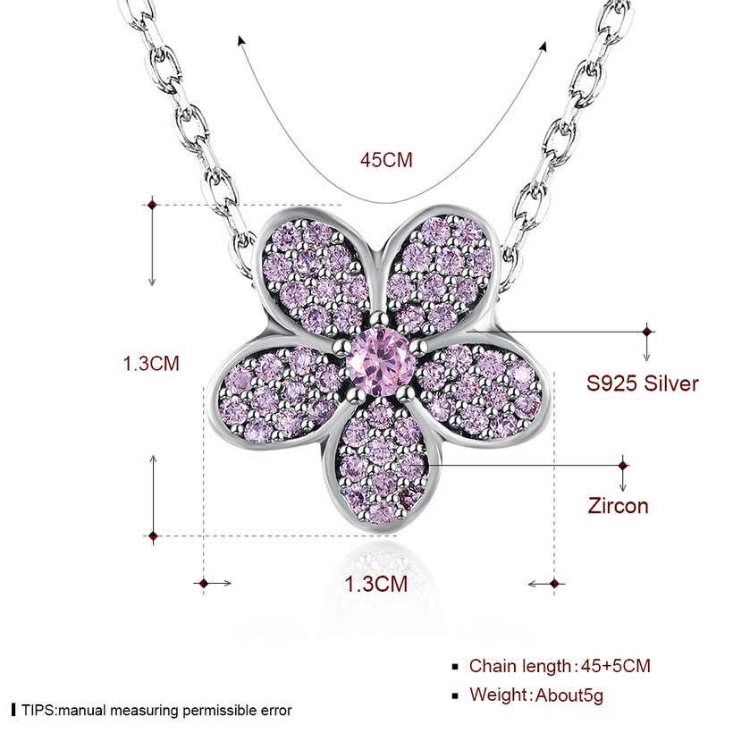 Wholesale Fashion 925 Sterling Silver Plant CZ Necklace TGSSN124 0