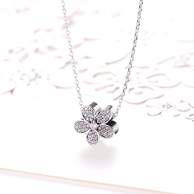 Wholesale Fashion 925 Sterling Silver Plant CZ Necklace TGSSN124 1