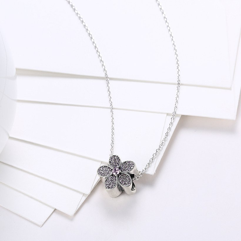 Wholesale Fashion 925 Sterling Silver Plant CZ Necklace TGSSN124 2