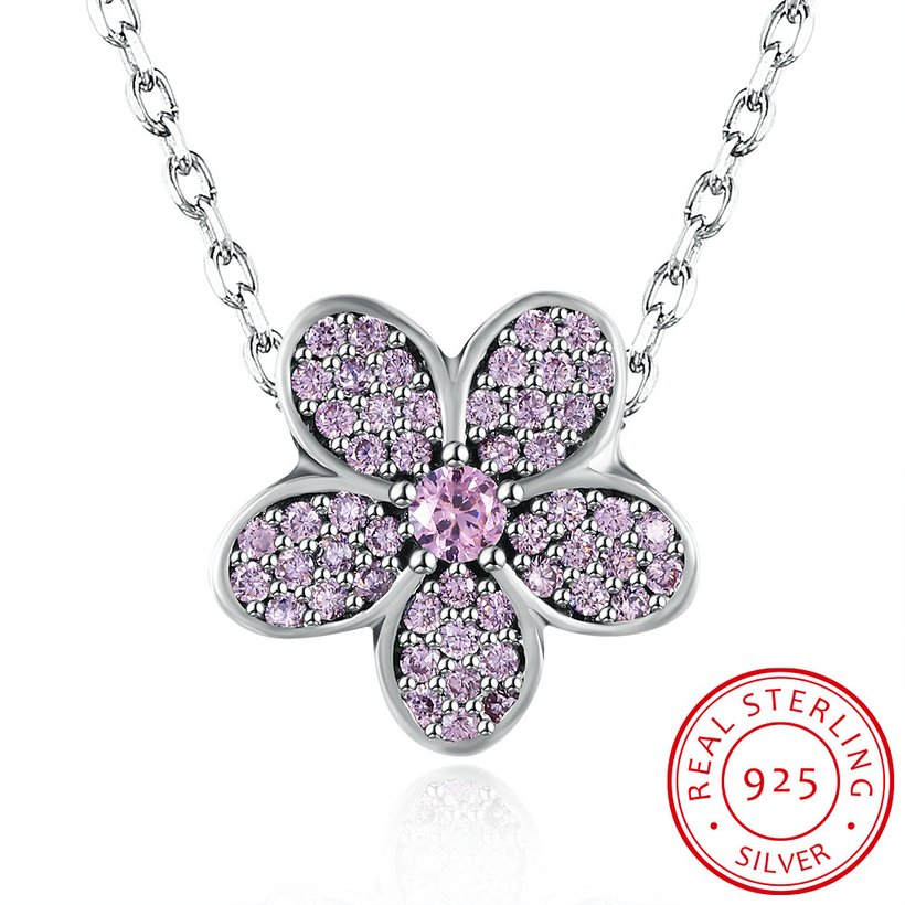 Wholesale Fashion 925 Sterling Silver Plant CZ Necklace TGSSN124 4