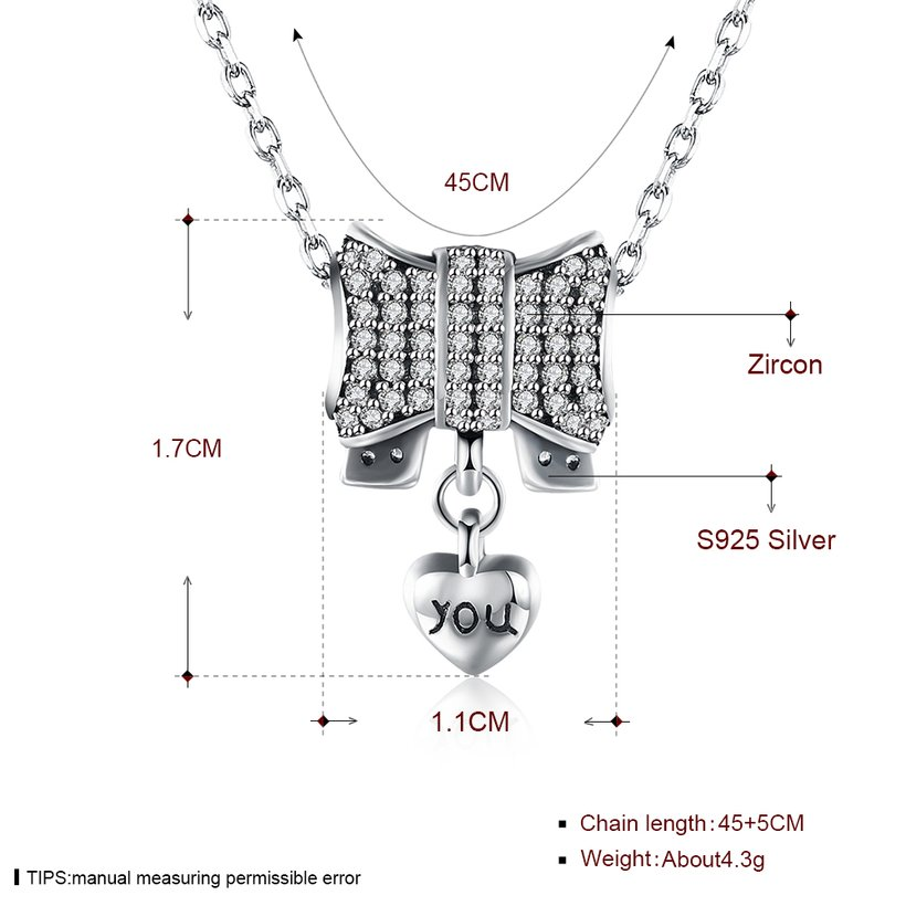 Wholesale Romantic 925 Sterling Silver Bowknot Heart CZ Necklace TGSSN126 0