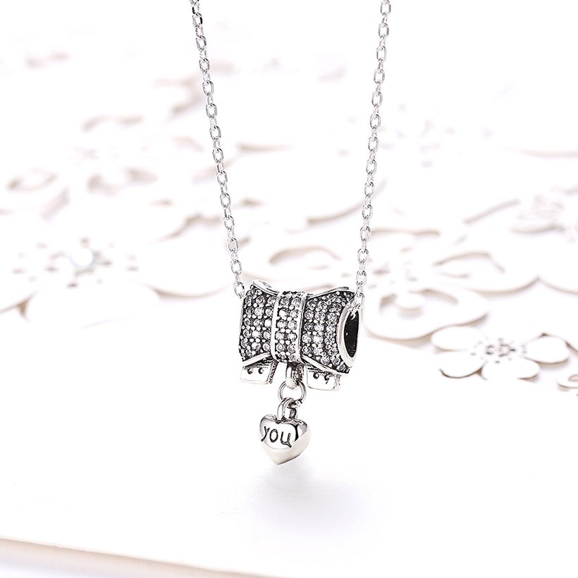 Wholesale Romantic 925 Sterling Silver Bowknot Heart CZ Necklace TGSSN126 1