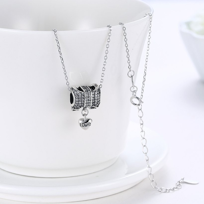 Wholesale Romantic 925 Sterling Silver Bowknot Heart CZ Necklace TGSSN126 2