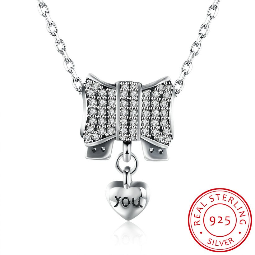 Wholesale Romantic 925 Sterling Silver Bowknot Heart CZ Necklace TGSSN126 4