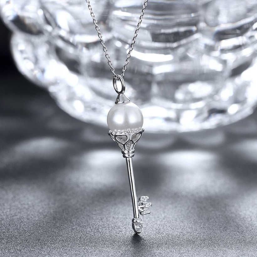 Wholesale Fashion 925 Sterling Silver Key CZ Necklace TGSSN138 3