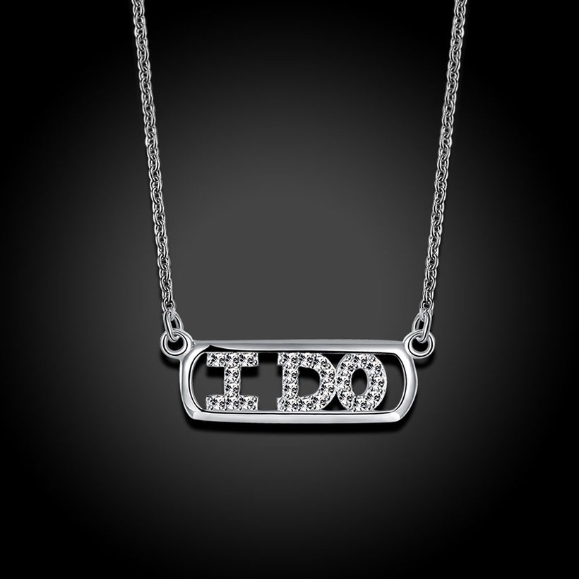 Wholesale 925 Silver I Do CZ Necklace TGSSN147 1