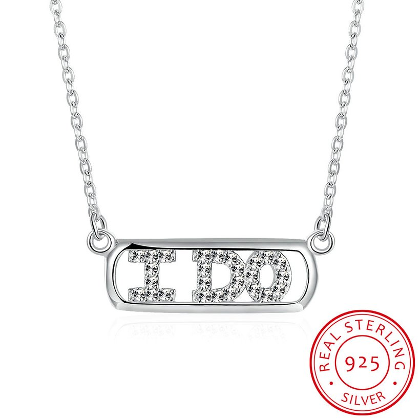 Wholesale 925 Silver I Do CZ Necklace TGSSN147 5