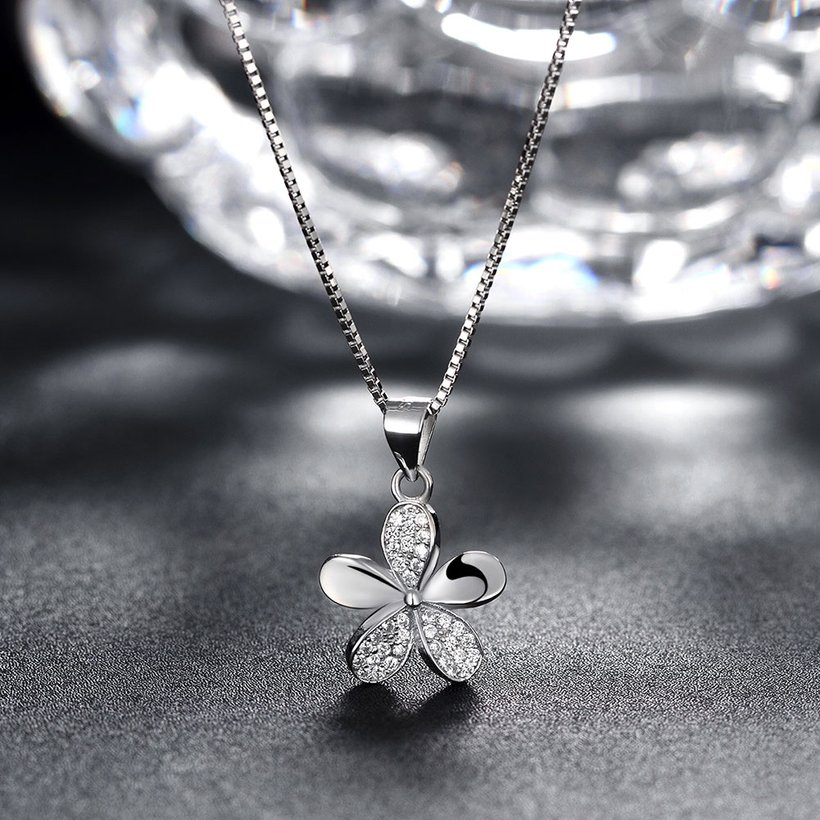 Wholesale 925 Silver Five Grass CZ Necklace TGSSN149 3