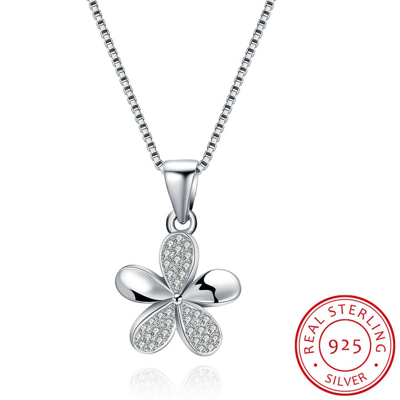 Wholesale 925 Silver Five Grass CZ Necklace TGSSN149 5