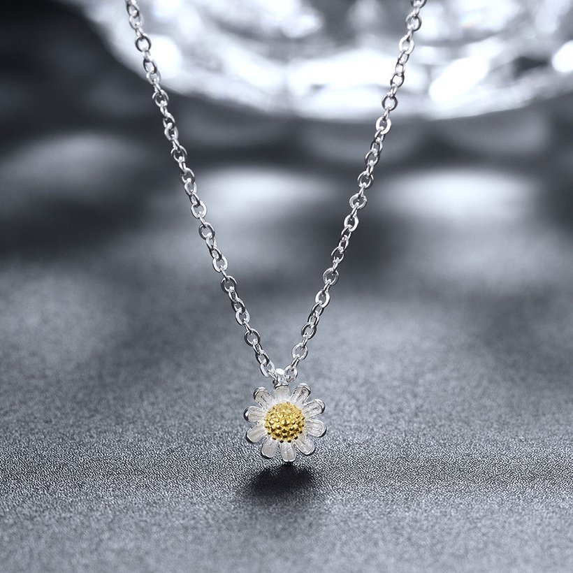 Wholesale 925 Silver Chrysanthemum Necklace TGSSN157 3