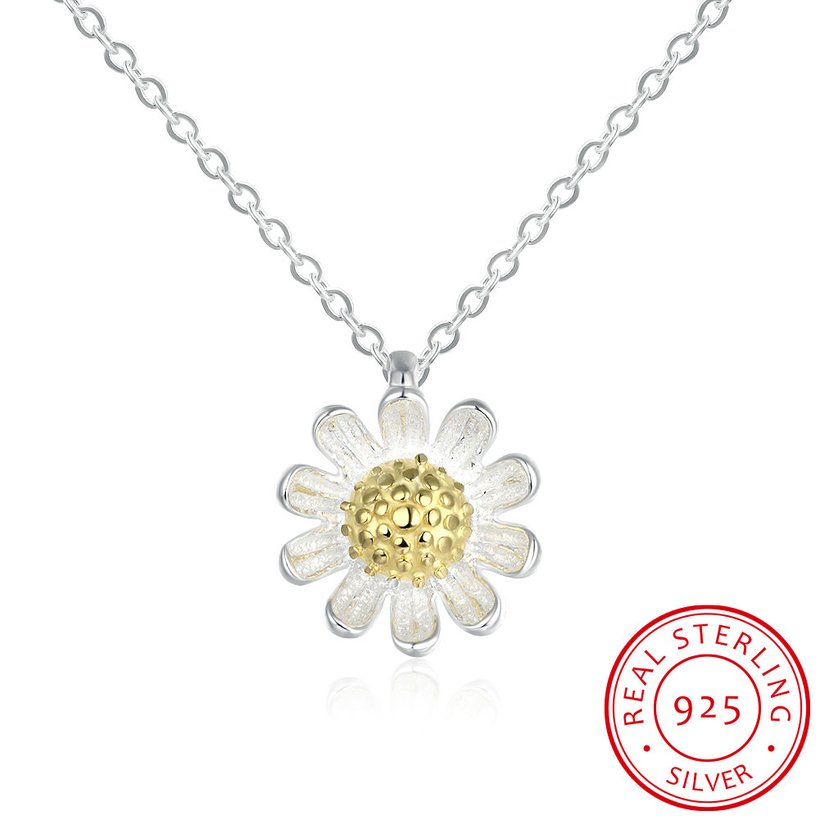 Wholesale 925 Silver Chrysanthemum Necklace TGSSN157 5