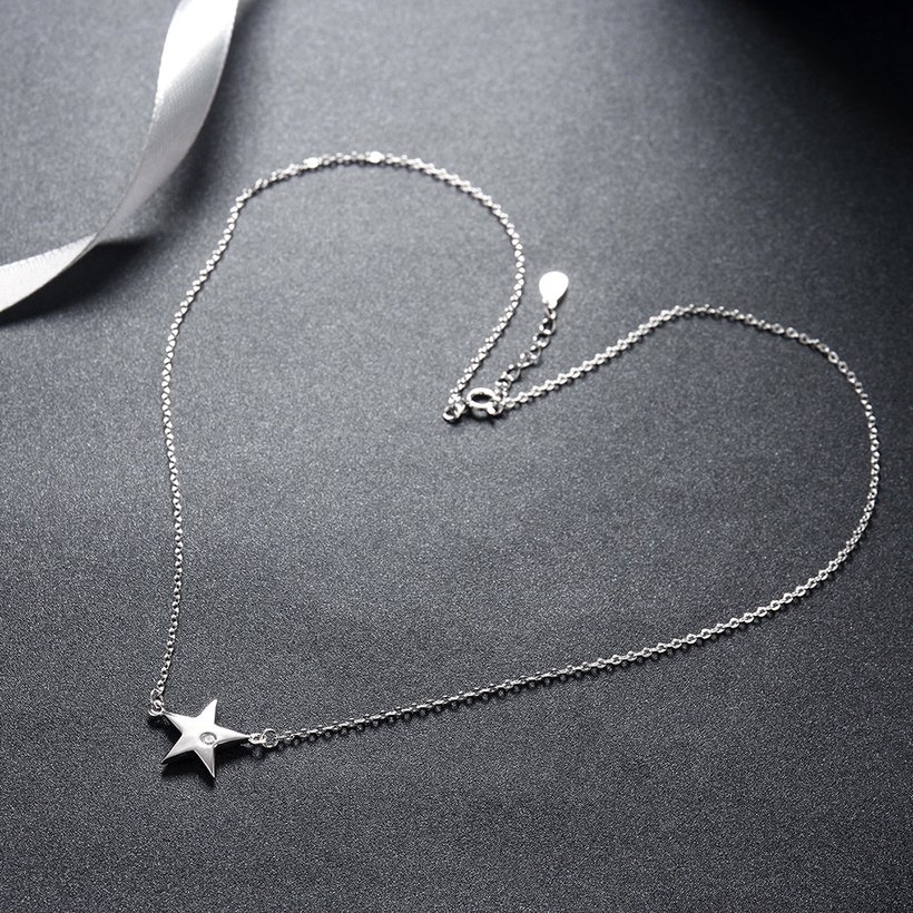 Wholesale 925 Silver Star CZ Necklace TGSSN004 2