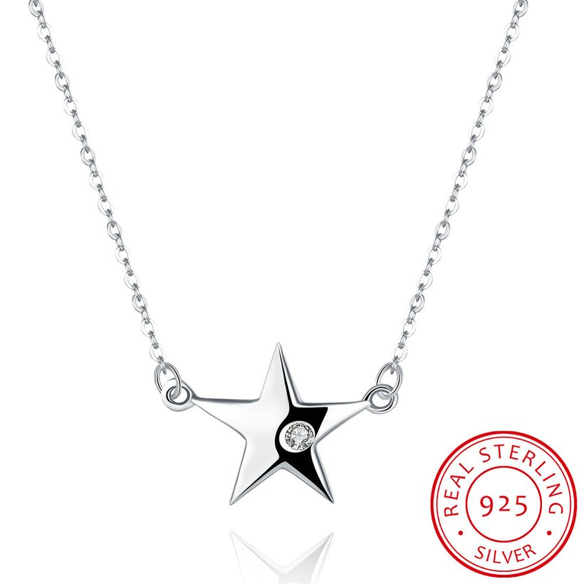 Wholesale 925 Silver Star CZ Necklace TGSSN004 5