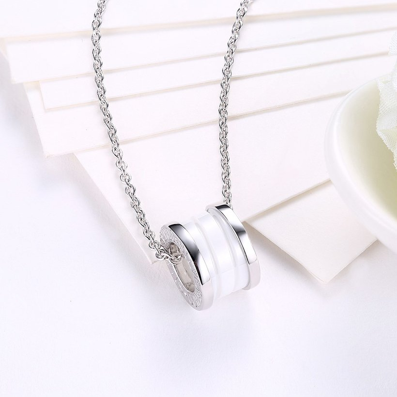 Wholesale Trendy 925 Sterling Silver Round White Ceramic Necklace TGSSN008 2