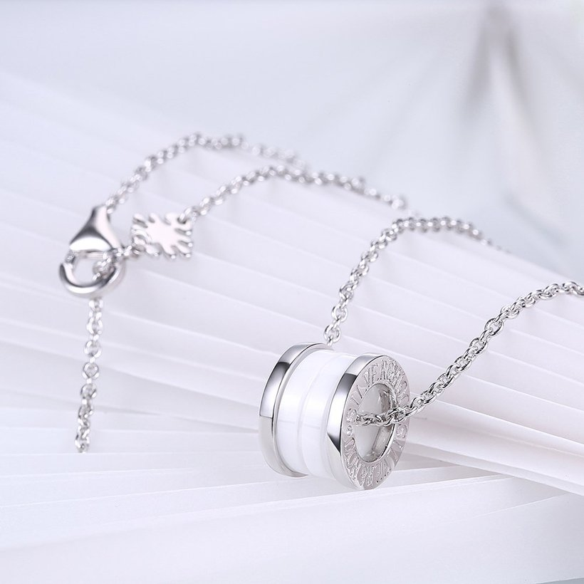 Wholesale Trendy 925 Sterling Silver Round White Ceramic Necklace TGSSN008 3