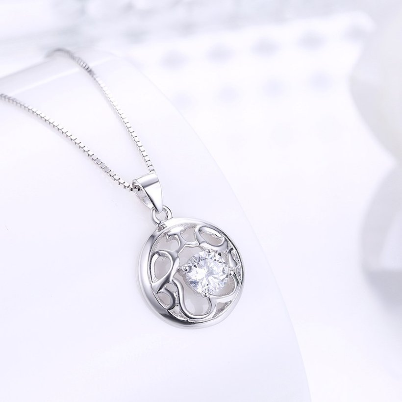 Wholesale Fashion 925 Sterling Silver Round CZ Hollow Necklace TGSSN010 1