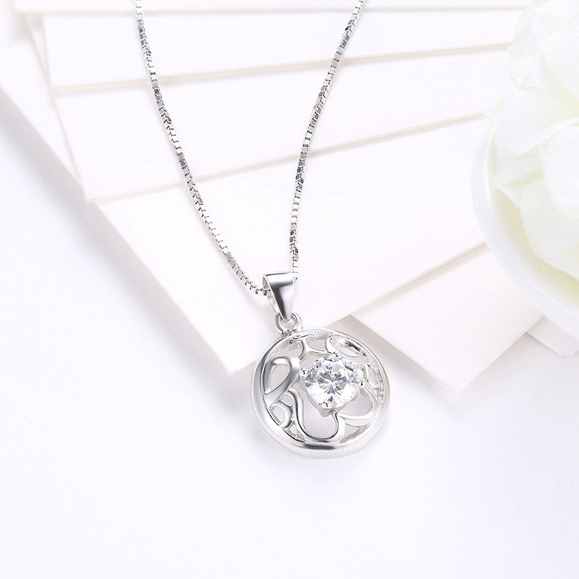 Wholesale Fashion 925 Sterling Silver Round CZ Hollow Necklace TGSSN010 2
