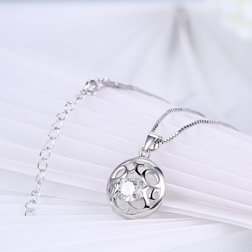 Wholesale Fashion 925 Sterling Silver Round CZ Hollow Necklace TGSSN010 3