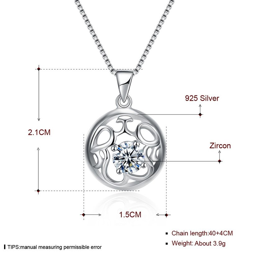 Wholesale Fashion 925 Sterling Silver Round CZ Hollow Necklace TGSSN010 4