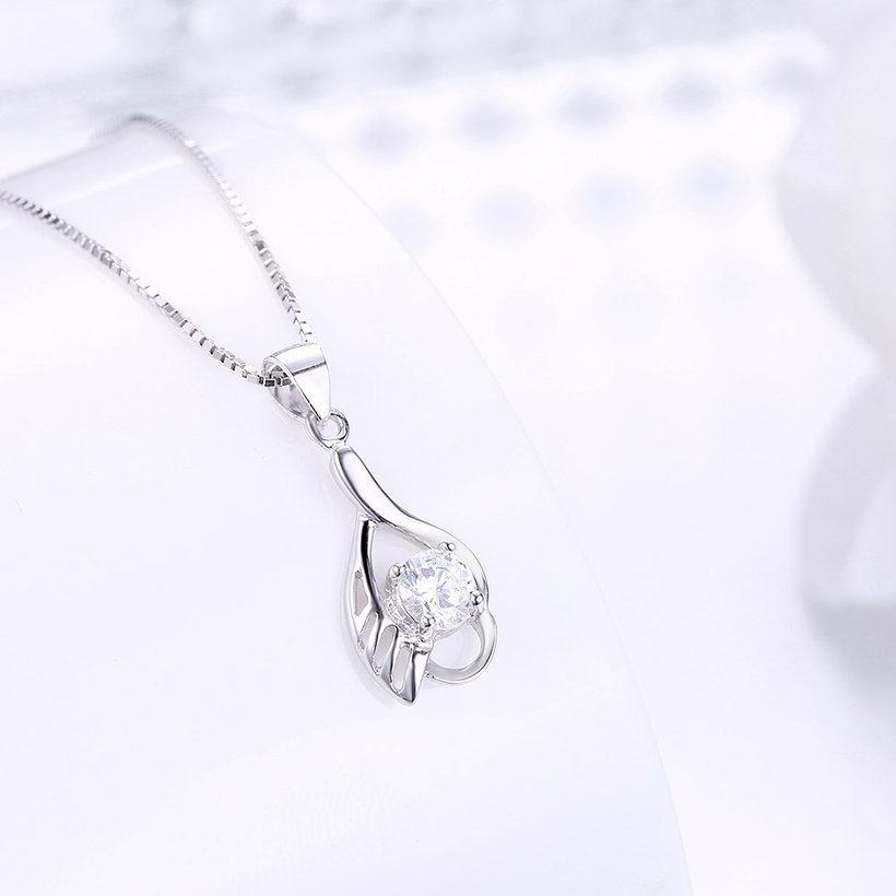 Wholesale Fashion 925 Sterling Silver CZ Wing Necklace TGSSN012 1