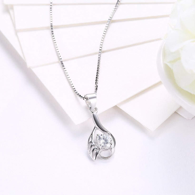 Wholesale Fashion 925 Sterling Silver CZ Wing Necklace TGSSN012 2
