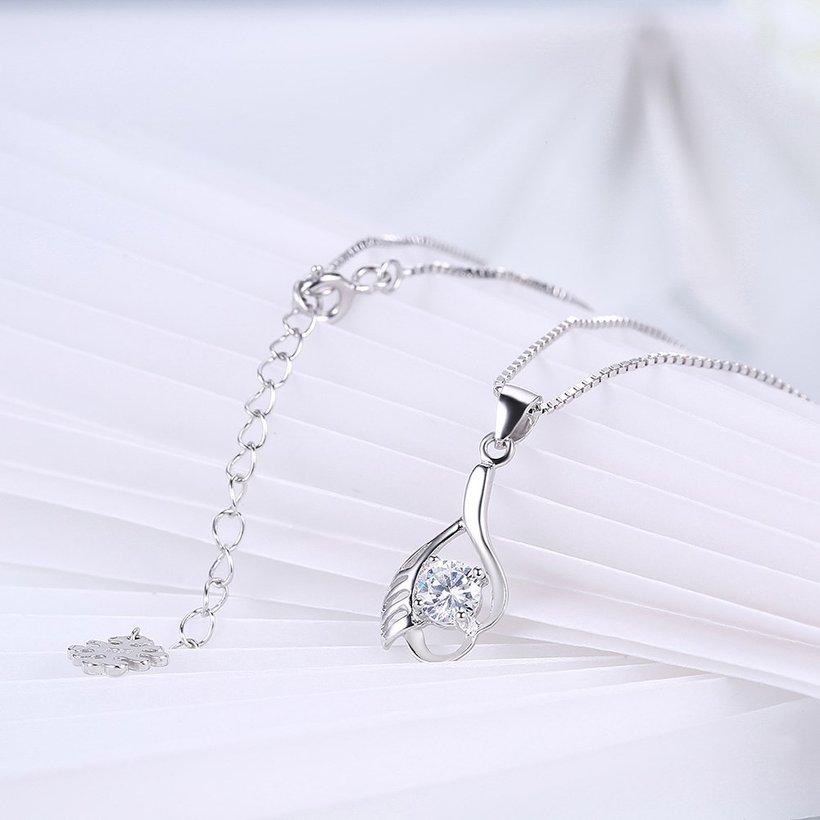 Wholesale Fashion 925 Sterling Silver CZ Wing Necklace TGSSN012 3