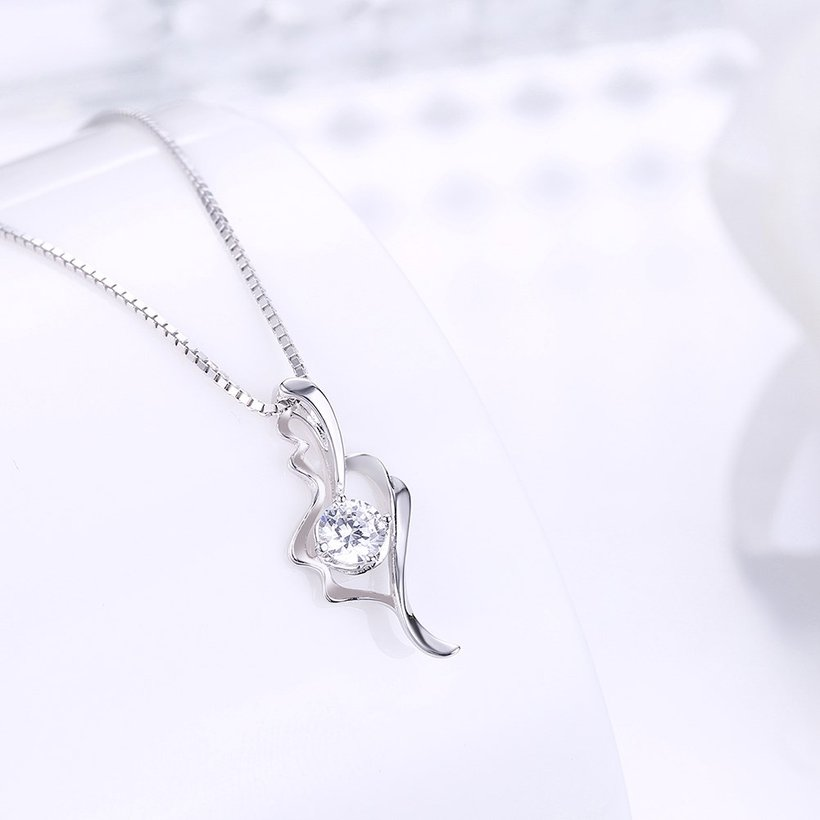 Wholesale Fashion 925 Sterling Silver CZ Romantic Necklace TGSSN014 1