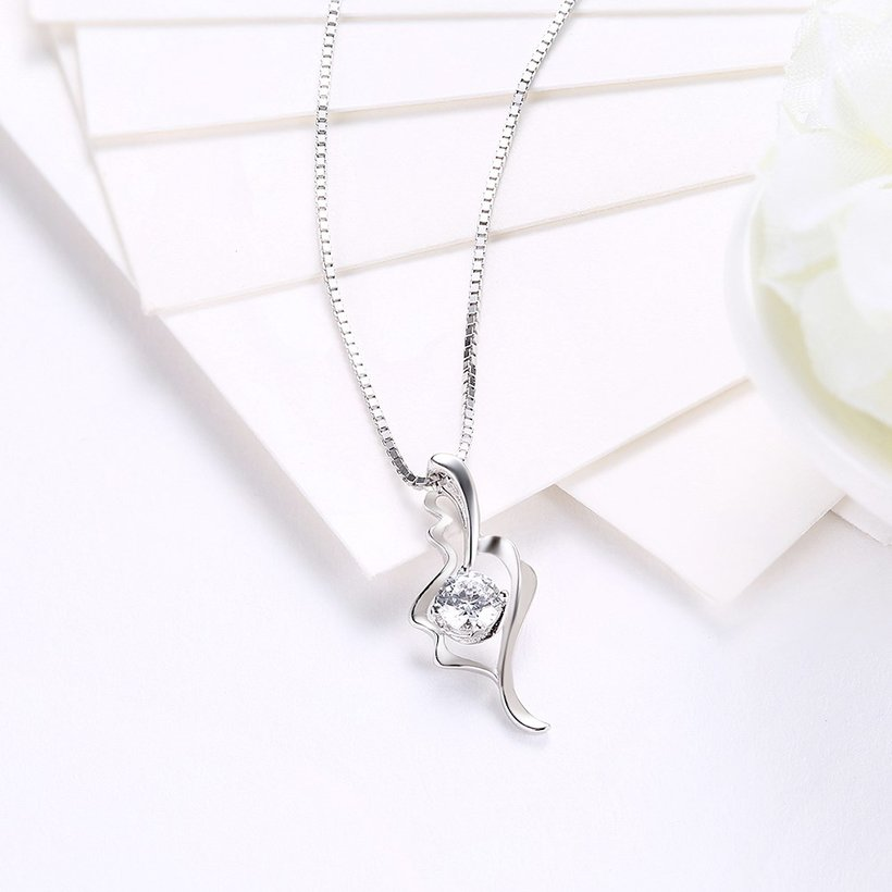 Wholesale Fashion 925 Sterling Silver CZ Romantic Necklace TGSSN014 2