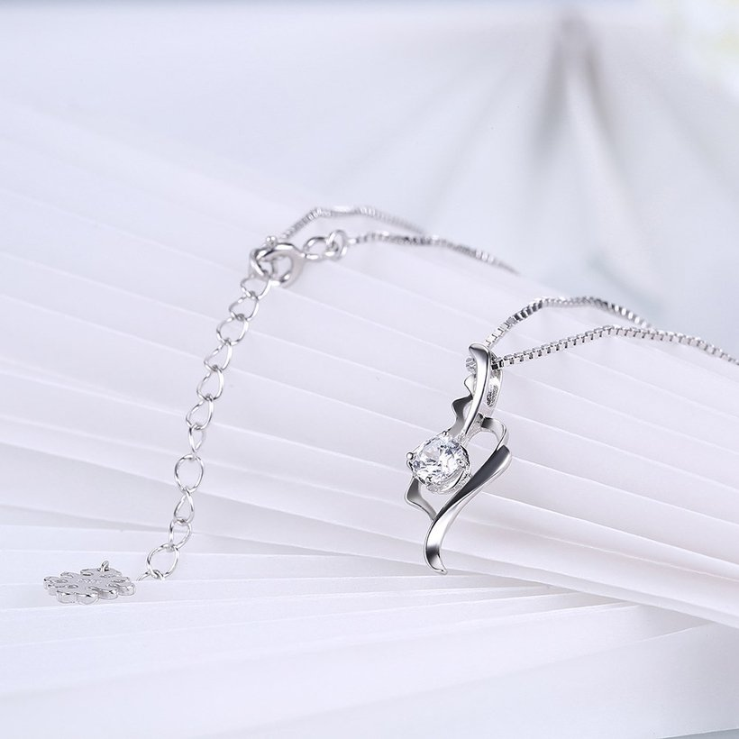Wholesale Fashion 925 Sterling Silver CZ Romantic Necklace TGSSN014 3