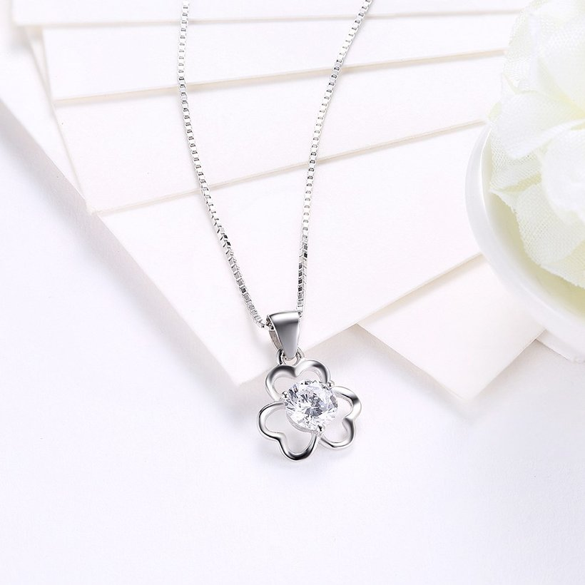 Wholesale Trendy 925 Sterling Silver CZ Flower Necklace TGSSN016 2