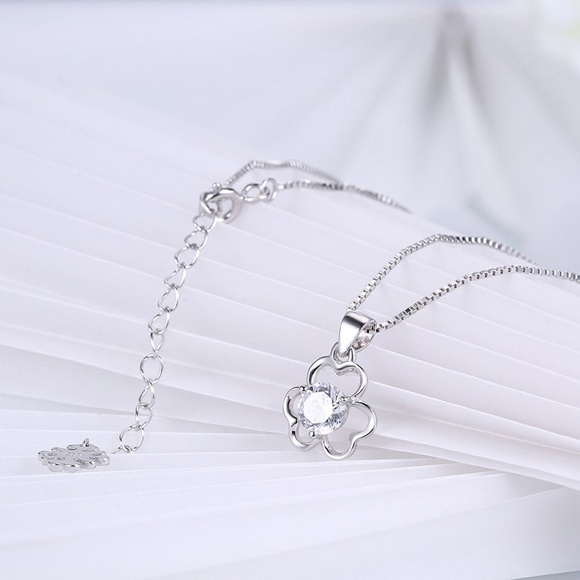 Wholesale Trendy 925 Sterling Silver CZ Flower Necklace TGSSN016 3