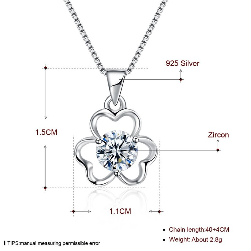 Wholesale Trendy 925 Sterling Silver CZ Flower Necklace TGSSN016 4