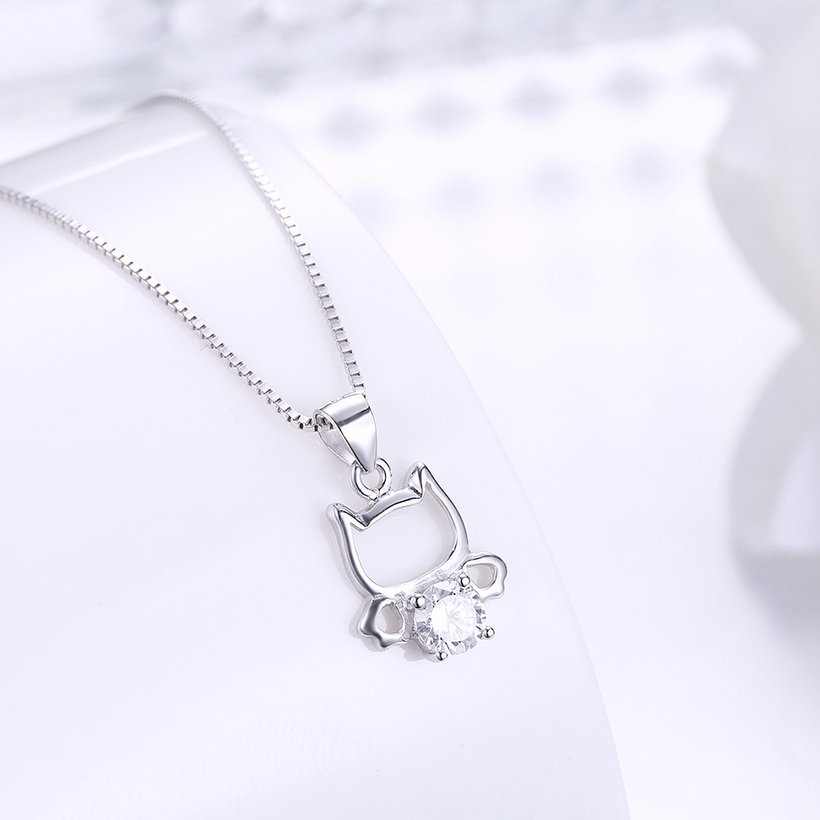 Wholesale 925 Silver Cute Cat CZ Necklace TGSSN018 1