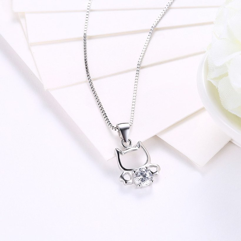 Wholesale 925 Silver Cute Cat CZ Necklace TGSSN018 2