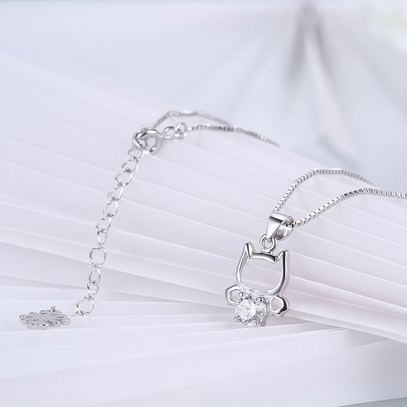 Wholesale 925 Silver Cute Cat CZ Necklace TGSSN018 3